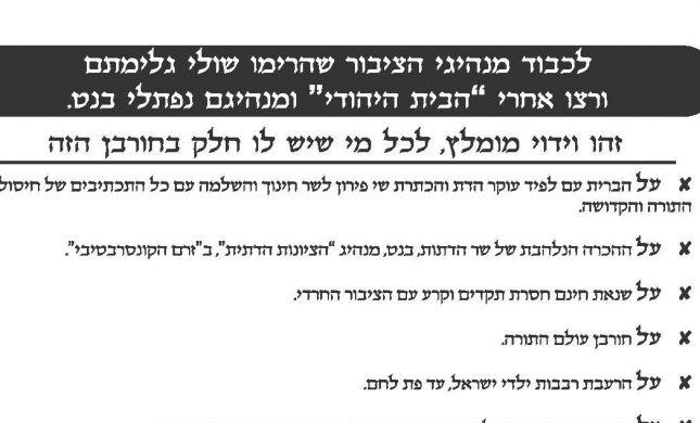 פעילי ימין חילקו נוסח וידוי למצביעי הבית היהודי