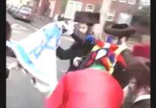 צפו: חרדים חוגגים פורים בשריפת דגל ישראל