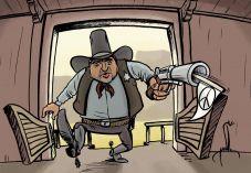קריקטורה: ליברמן נכנס למשרד הבטחון