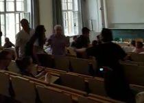 """צפו: ישראלים פעילי BDS פוצצו הרצאה של ח""""כ לביא"""