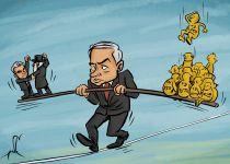 קריקטורה: נתניהו בין עדי המדינה למשבר הקואליציוני