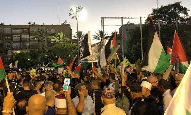 בושה: דגלי פלסטין במרכז תל אביב