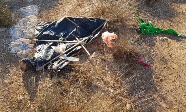 בשיא עונת הבציר: עפיפון תבערה נחת ביקב בשומרון