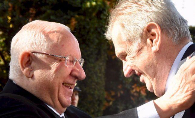 """נשיא צ'כיה לריבלין: """"איני מאמין בפתרון שתי מדינות"""""""