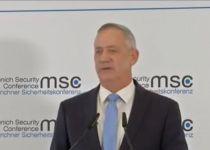 """גנץ בועידת מינכן:  """"מול איראן אין ימין ואין שמאל"""""""