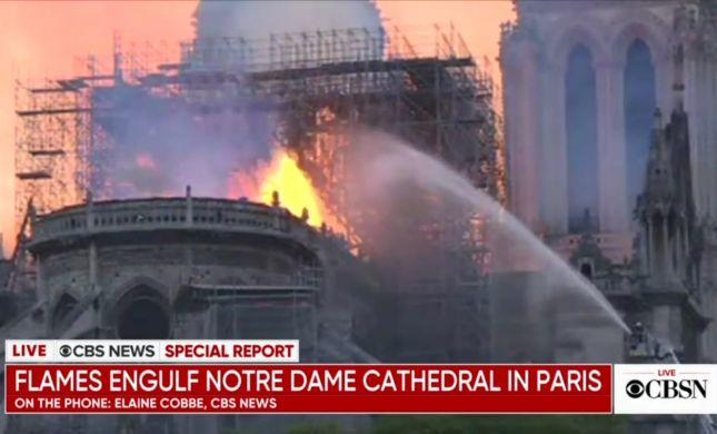 שריפת ענק בפריז: כנסיית נוטרדאם עולה באש