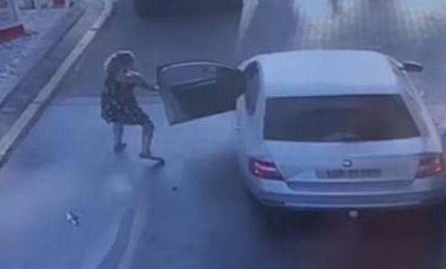 צפו: ירדה לתדלק ליד אריאל ורכבה נגנב על ידי ערבים