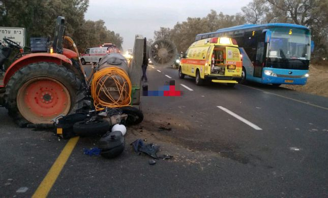תאונה קשה: רוכב אופנוע נהרג בהתנגשות עם טרקטור