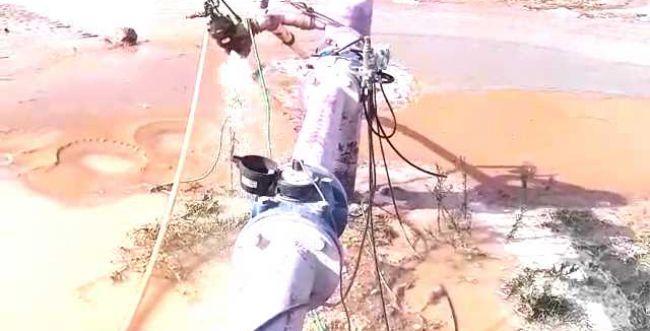 צפו בהצפה: רקטה פגעה בקו מים ראשי של מקורות