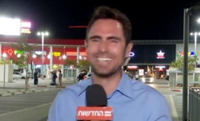 צפו: כתב חדשות 12 לא מצליח להפסיק לצחוק בשידור