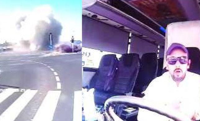 הפיצוץ וההלם: תיעוד הרקטה מתוך האוטובוס