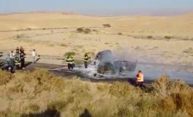 שני בני אדם נשרפו למוות בתאונה בדרום: צפו בתיעוד