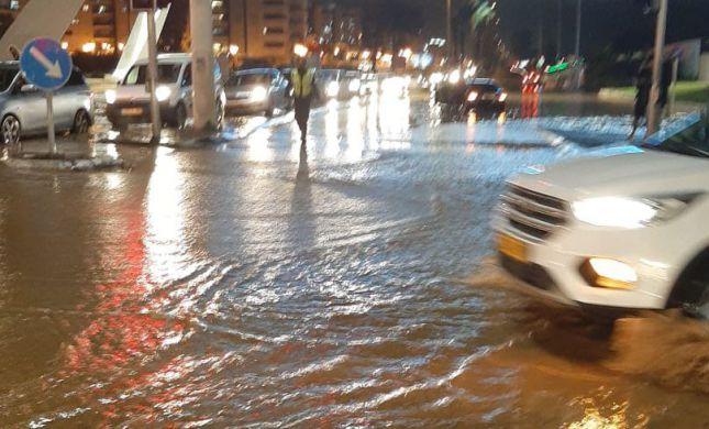 הגשמים הציפו את העיר: נהריה עלתה על גדותיה.צפו