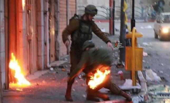 נס בחברון: החייל ניצל מהבקבוק תבערה. תיעוד