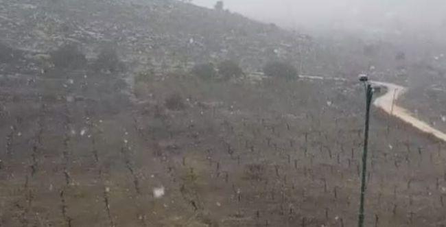 שלג יורד בהר חברון; מוסדות החינוך טרם נפתחו. צפו
