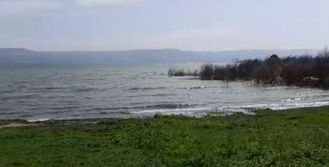 תיעוד נדיר: הכנרת עולה על גדותיה ומציפה את החוף. צפו