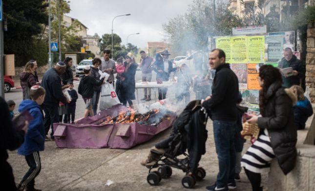 שריפת החמץ המרכזית של עיריית ירושלים. צפו
