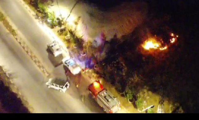 """מחבלים השליכו בקת""""ב וגרמו לשריפה בגוש עציון"""