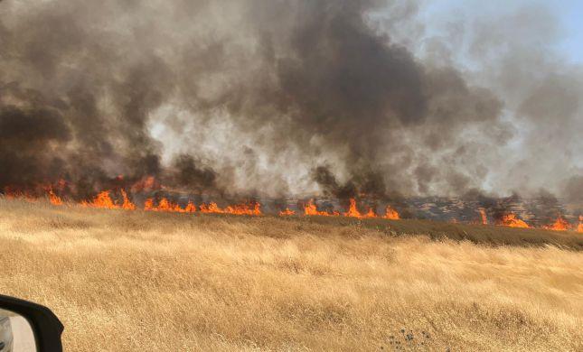 """שריפה בבנימין; נסיונות למנוע התפשטות לבסיס מג""""ב"""