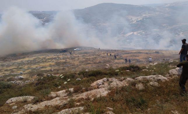 אש משתוללת סמוך ליצהר, חשד להצתה על ידי ערבים
