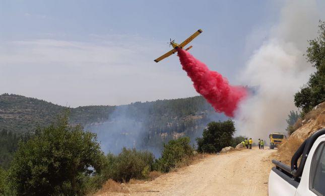 שריפה חורש משתוללת באזור ירושלים