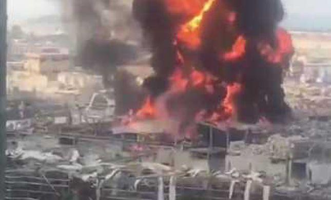 חודש אחרי הפיצוץ: שריפת ענק בנמל ביירות