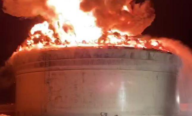 להבות ענק: פגיעה ישירה במכלי הנפט באשקלון