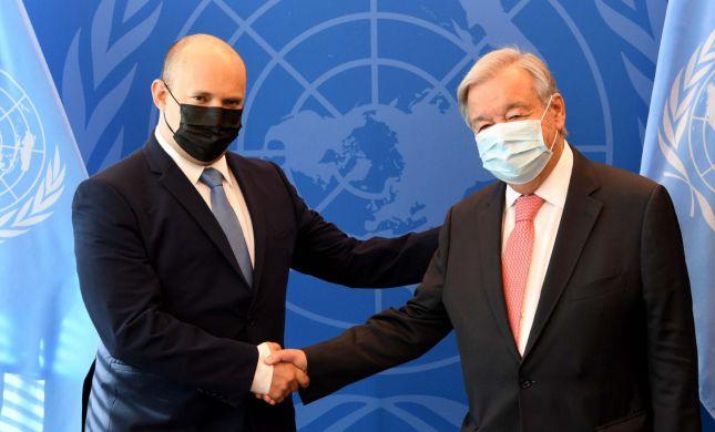 """לאחר הנאום באו""""ם: בנט נפגש עם המזכ""""ל והשגרירה"""