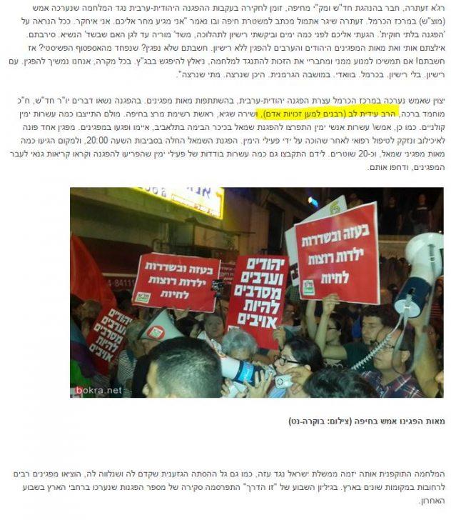 עידית לב בהפגנה נגד צהל בחיפה - צילום מסך