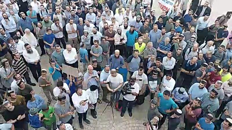 עשרות המפגינים בגשר המיתרים (צילום: חיים גולברג/ כיכר השבת)